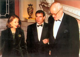 Michael Wynne-Parker with HRH Prince Andrew and Valerie Mitchell, Dartmouth House, London